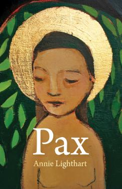 Book cover for Pax by Annie Lighthart. Cover is filled with an oil painting of a child with a gold halo framing his face